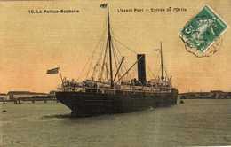 LA PALLICE- ROCHELLE   L'avant Port.  Entrée De L'Orita  Carte Toilée  Rare - La Rochelle