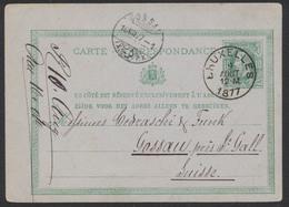 """EP Au Type 10ctm Vert Obl Simple Cercle """"Bruxelles"""" (1877) Vers Gossau Près St-Gall (Suisse) - Entiers Postaux"""
