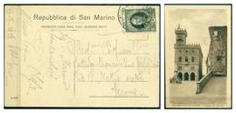 V6749 SAN MARINO 1928 Cartolina Illustrata Affrancata Con Onofri 20 C., 26.8.28 Per Verona, Ottime Condizioni - San Marino