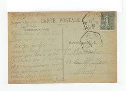 Sur Carte Semeuse Lignée CAD Woippy Hexagonal 1924. CAD Destination Nancy. (1116x) - Marcophilie (Lettres)