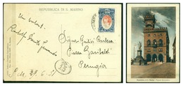 V6750 SAN MARINO 1931 Cartolina Illustrata Affrancata Con Vedute 20 C., 29.6.31 Per Perugia, Ottime Condizioni - San Marino