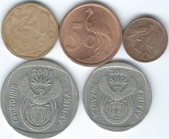 South Africa - 2001 - 1, 5 & 20 Cents; 2 & 5 Rand - Afrique Du Sud