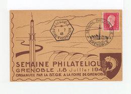 Carte Semaine Philatélique De Grenoble  1946. Cachet Semaine Philatélique. Cachet Hexagonal Foire Exposition. (1117x) - Marcophilie (Lettres)