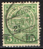 LUSSEMBURGO - 1915 - STEMMA CON SOVRASTAMPA - OVERPRINTED - USATO - 1907-24 Scudetto
