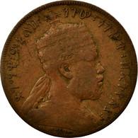 Monnaie, Éthiopie, Menelik II, 1/100 Birr, Matonya, 1897, Paris, TB, Cuivre - Ethiopia