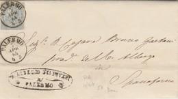 Palermo. 1864.  Annullo Piccolo Cerchio + Annullo ALBERGO DEI POVERI, Su Lettera Affrancata, Completa Di Testo - Marcofilie