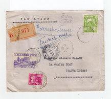 Sur Env. Par Avion R. Deux Timbres Tunisie . Un Timbre Taxe 5F. CAD La Chaise Dieu. Cachet Bureau Contrôle Lyon. (1120x) - Tunisie (1888-1955)