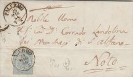 Palermo. 1864.  Annullo Piccolo Cerchio, Su Lettera Affrancata Con C.15, Completa Di Testo - Marcofilie
