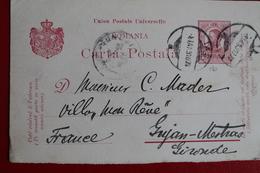 1910     ENTIER  CARTE   POSTALE  DE  10  BANI   ROUGE      DE     IASY   POUR  LA  FRANCE - 1881-1918: Charles I