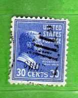 (Us2) USA °- 1938 - Série Courante, Présidents. Th, Roosevelt. 30 C. Yvert 395.   USED.  Vedi Descrizione - Stati Uniti