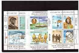 NEW ZEALAND   -   1988  -  80th ANNIVERSARY OF SHACKLETON'S BRITISH ANTARTIC EXPEDITION - 5 MINIATURE SHEET UNMOUNTED - Blocks & Sheetlets