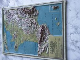"CARTE FRANCE EN RELIEF TOPOGRAPHIQUE ""plastique Physico-politique"" Edizioni Rico Firenze (italy) - Topographical Maps"