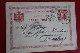 1899     ENTIER  CARTE   POSTALE  DE  10  BANI  ROUGE      PARTIE  DE  BRAILA  POUR  HAMBOURG   ALLEMAGNE - 1881-1918: Charles I