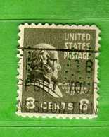 (Us2) USA °- 1938 - Série Courante, Présidents. M. Van Buren. 8 C. Yvert 378.   USED. PERFIN. MA  Vedi Descrizione - Perfin