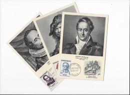 Carte Maximum Les 3 Cartes Personnages Celebres 9 Novembre 1957 - 1950-59
