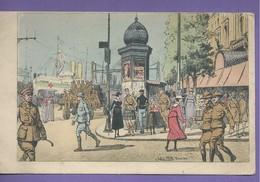 D 76  CPA Illustrateur Julien T Felt ROUEN Le Quai De La Bourse  Ecrite 1917 N047 - Rouen