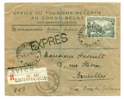 Congo Belge - COB108, COB197-202 Sur Expres Recommandé De Costermansville (Bukavu) Vers Bruxelles 1939 - Congo Belge