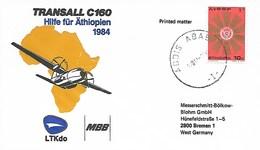 TRANSALL C160 - 1984  COMMEMORATIVE COVER - HELP ETHIOPIA - Aviones