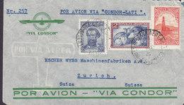 Argentina Air Mail Dr. G. KELLER 'Via CONDOR' Cachet BUENOS AIRES 1938 Cover Letra ZÜRICH Suisse Switzerland - Ganzsachen