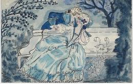 Fantaisie - COUPLES - Belle Carte Peinte à La Main, Dominance Bleu - - Couples