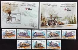 Turks Caicos 1991** Mi.1027-36 Trains MNH [21;103] - Trains