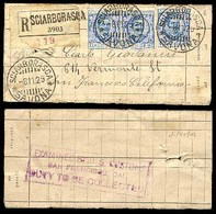 ITALY. 1929. Sciarbonasca - USA / California. Registered Multifkd. 1l 25 X 3 Label Tag Package. - Unclassified