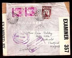 PERU. 1942. Lobitos / Receptoria - UK. Air Registr Fkd Censored (Caribbe + UK) Env. Special Air Cachet. Rare. - Peru