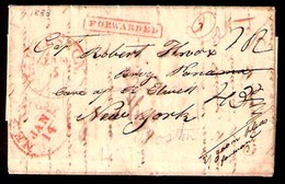 USA. 1833. Charleston - NY - PANAMA - Boston. Forwarded. EL. Fiff Cachets + Charge Marks. Addressed To Person On Board B - United States