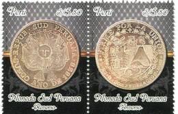 Lote P2011-5, Peru, 2011, Sello, Stamp, 2 V, Moneda Sud Peruana, Coin - Perú