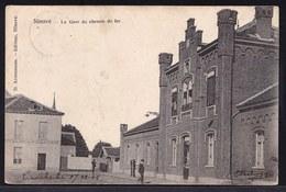 ** NINOVE - GARE DU CHEMIN DE FER ** édit. Anneessens MET HOTEL LA STATION - Ninove