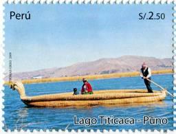 Lote P2009-18, Peru, 2009, Sello, Stamp, Lago Titicaca, Lake - Perú