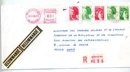Lettre  Recommandee Creteil Sur Sabine Etc Vignette - Marcophilie (Lettres)