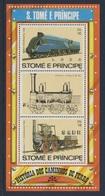 Sao Tomé E Principe 1982 B 115A (=Mi 812 + 809) ** Mallard, Great Brittain (1938) + Locomotive Nr. 1 Stephenson (1825) - Trains