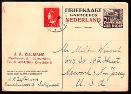 DUTCH INDIES. 1945. Schyndel - USA. Stat Ovpt Card + Adtl. - Indes Néerlandaises