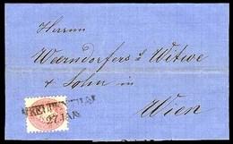 AUSTRIA. 1866. Feendenthal - Wien. EL. / 5 Kr Perf 9 1/2 / Stline. Cancel - 3 Pts. VF. - Austria