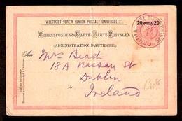 GREECE. 1898. Austrian Levant. Crete - Ireland / 20 Para Stat Card / CANDIA Cds. Unusual Destination. - Unclassified