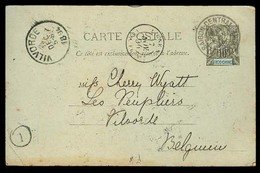 "INDOCHINA. 1894. Saigon - Belgium. 10c Stat Card + French. ""Ligne N / Acq Fr N1 7"" (**). VF. - Timbres"