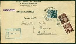 V8951 ITALIA REPUBBLICA 1947 Manoscritti Raccomandati Con 3 Valori Democratica, Da Brescia 6.5.47 Per Berlingo, Annulli - 1946-60: Marcophilie