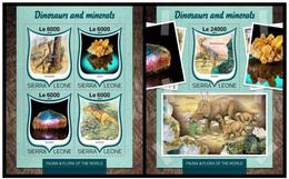 Sierra Leone 2016 Fauna Dinosaurs Minerals  Klb+s/s MNH - Postzegels