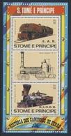 Sao Tomé E Principe 1982 B 116A (=Mi 810 + 811) ** Class 59, Afrika (1947) + William Mason, USA (1850) - Trains