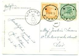 Congo Belge COB106-107 Sur Carte-vue De Matadi Rue De La Poste Envoyée De Lisala Le 16 Feb 1925 Et Arrivée à Merkplaats - Congo Belge