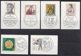 723, 728/31, 734  Mit LUXUS-Ersttags-Stempeln BERLIN Auf Briefstücken,perfekt,siehe Scan  !!  26.1-43 - Berlin (West)