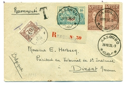 Congo Belge  COB139 X2 , COB193 Et Belgique TX37 Sur Recommandé De Kasongo Vers Dinant  1936 - Congo Belge