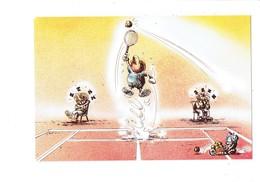 CP Collection Sports Loisirs Voyages SPORTIF Tennis Raquette Balle Réveil Brouette Arbitre Sieste MULTIPUB Illustration - Cartes Postales