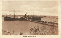 """2760 """" VEDUTA DI MASSAUA - IL PORTO CON PIROSCAFO IN FASE DI SCARICO,O CARICO MERCI """"CART.POST. ORIG NON SPED. - Eritrea"""
