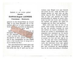 P 817. GODFRIED-AUGUST LAUWERS - Franciscaan-Missionaris - °DE KLINGE-WAAS 1892 / + KANZENZE (ZAÏRE) 1972 - Images Religieuses