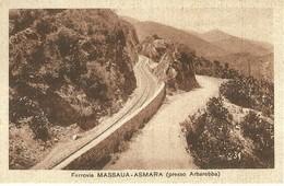 """2761 """" FERROVIA MASSAUA-ASMARA (PRESSO ARBAROBBA) """" CART.POST. ORIG NON SPED. - Eritrea"""
