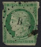 N°2, Cérès 1849, 15c Vert, Oblitéré Bureau De Paris B - Défectueux  COTE 1050 € - 1849-1850 Ceres