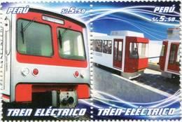 Lote P2011-9, Peru, 2011, Sello, Stamp, 2, V, Bus Y Tren Electico, Bus And Electric Train - Perú