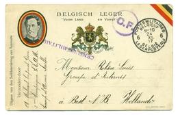 Belgique  Carte En PM6 Envoyée Par Le Caporal A. Melaert Du Camp D'Auvoursvers Un Camp D'internement Aux Pays-Bas - 1915 - Armée Belge